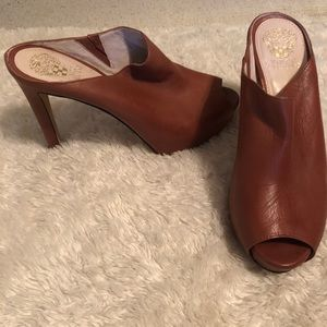 Vince Camuto Leather Tan Brown Heels